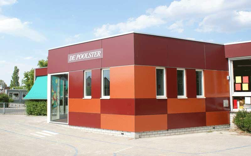 Uitbreiding Basisschool Lansingerland, de kleuteringang met eigen toiletgroep