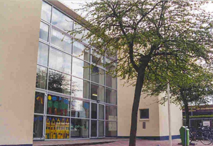 Renovatie basisschool Rotterdam, noordgevel met entree en hal