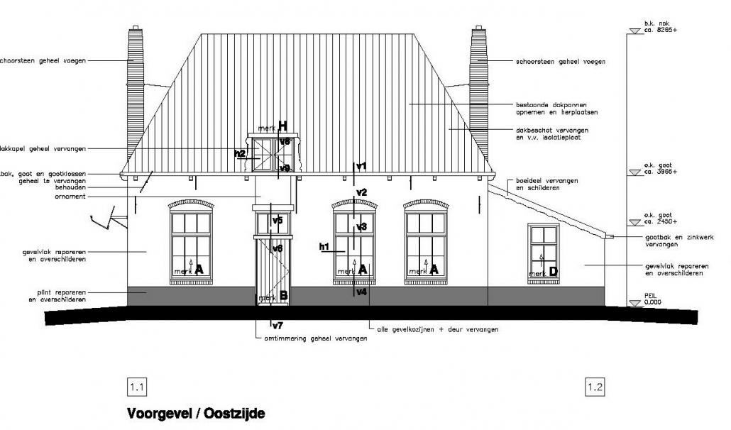 Restauratie Veerhuis Overschie - Bouwtekening gevel oostzijde