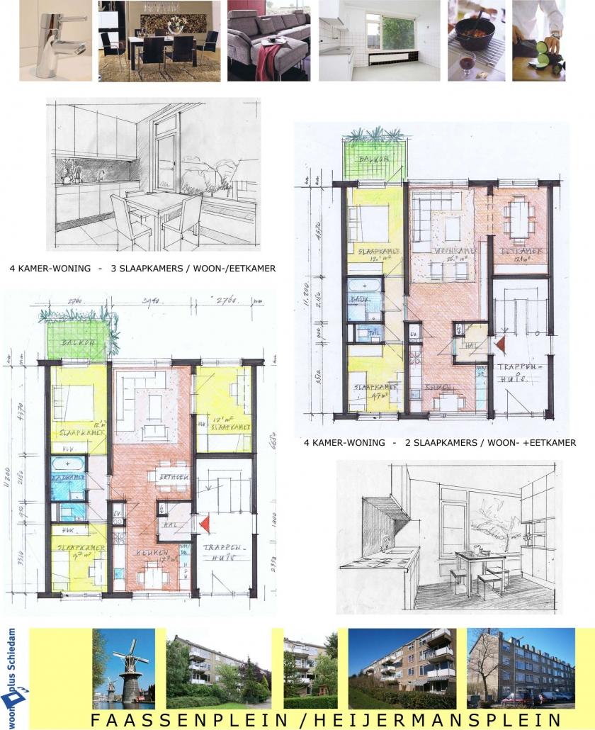 Schets van vergroting woningen voor Woonplus Schiedam Faassenplein - Meijermansplein