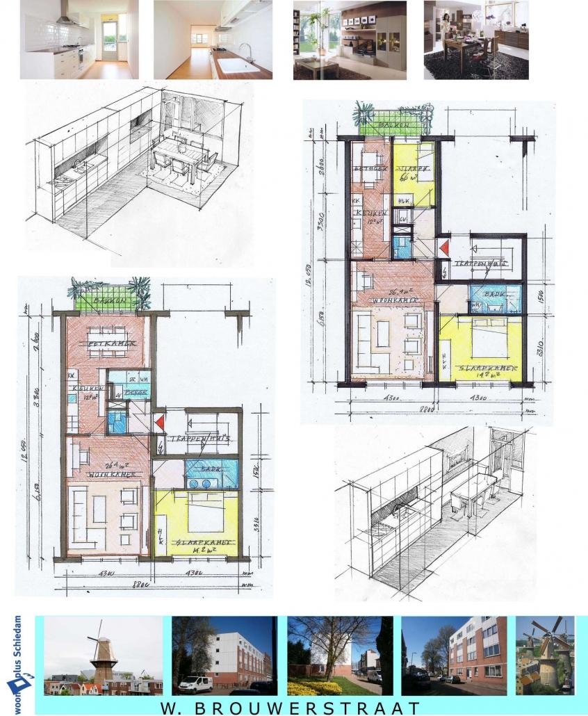 Schets van vergroting woningen voor Woonplus Schiedam W.Brouwerstraat